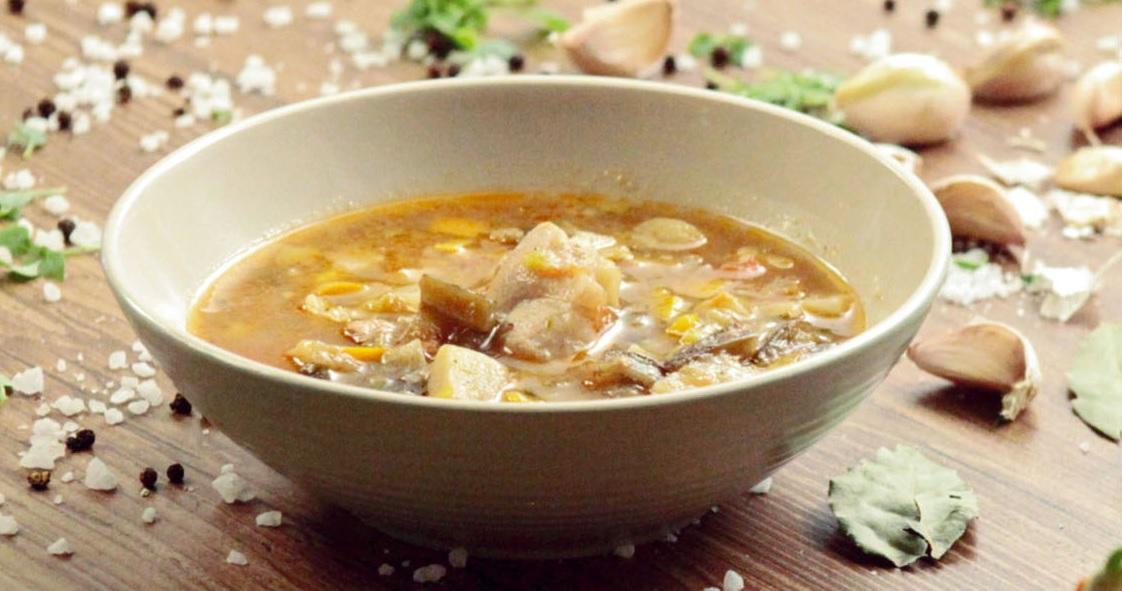 Суп из индейки с баклажанами