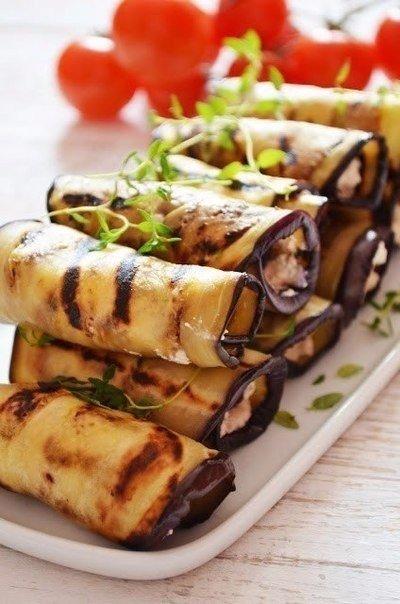 Баклажановые рулетики-гриль с сырно-ореховой начинкой