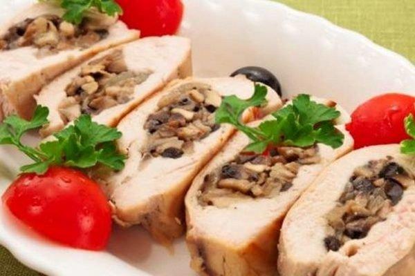 Кордон блю из курицы с грибами и ветчиной