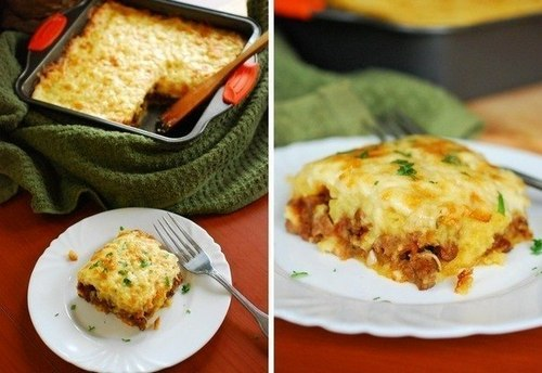 Картофельная запеканка с мясом, сыром и зеленым горошком