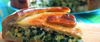 Пирог с зелёным луком,яйцом и сыром