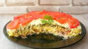 Слоеный салат «Чикаго» с копченой курицей, сыром и грибами