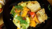Мясо куриное с сезонным овощным рагу