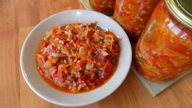 Салат с рисом и овощами на зиму «Завтрак туриста»