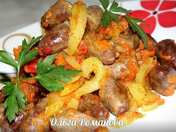Куриные сердечки с овощами в соевом соусе