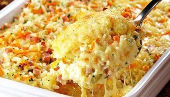 Запеканка из риса ветчины и сыра
