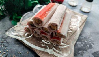 Крабовые палочки фаршированные печенью трески
