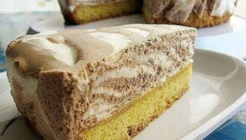 Торт «Пёрышко зебры» с суфле, рецепт с фото