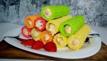 Трубочки с клубнично-сырной начинкой, рецепт с фото