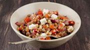 Салат с гречкой, грецкими орехами и козьим сыром