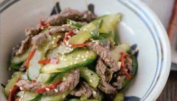Огурцы с говядиной по-корейски