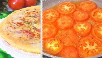 Нежнейший омлет с помидорами (на сковороде)