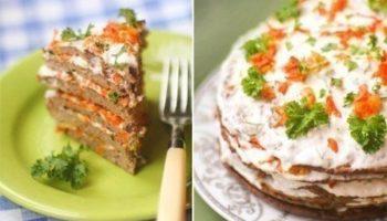 Печеночный торт со сметанным соусом