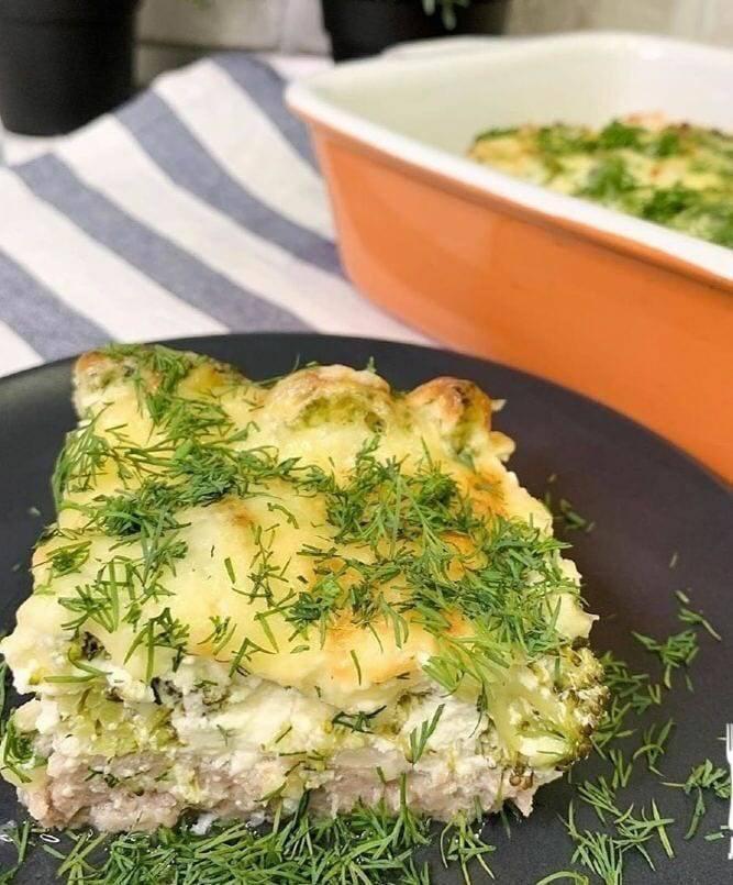 Мясная запеканка в сырно-сливочном соусе