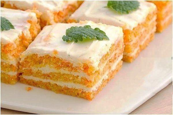 Морковное пирожное с творожным кремом