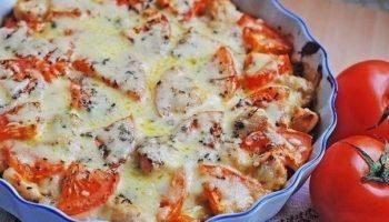 Запеканка с куриным филе и помидором