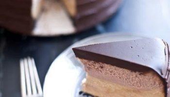 Двухслойный чизкейк в шоколадной глазури